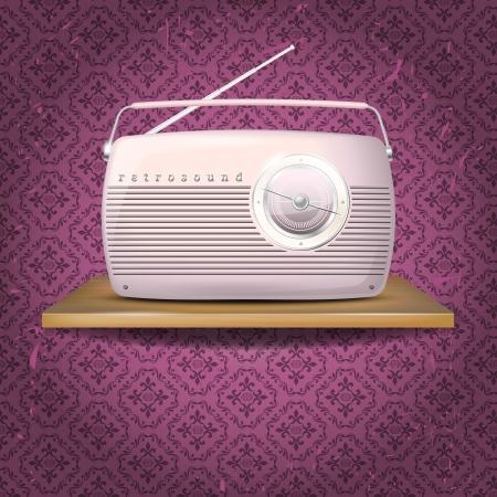 �tag�re bois: Rose vintage radio sur une �tag�re en bois