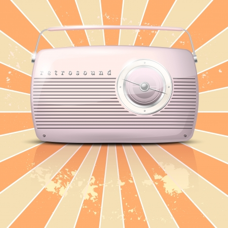 Pink vintage radio on retro grungy background Vector