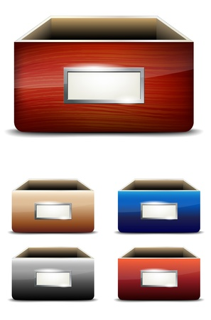 drawers: Set of empty drawers with label - vector illustration Illustration