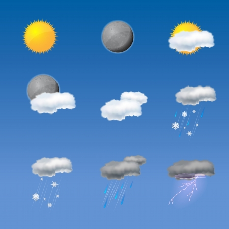 Collection of  weather icons Stock Vector - 16945973