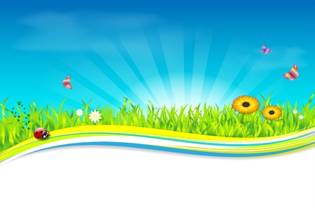 Nature spring summer background - place for text Stock Vector - 17034304