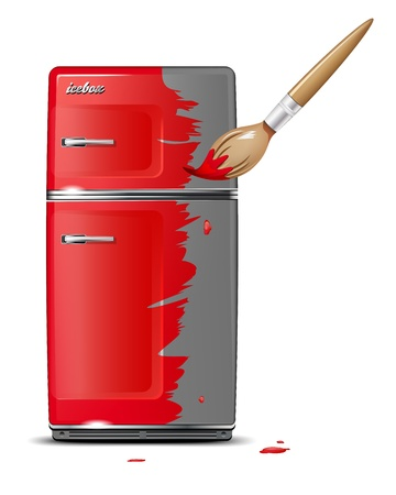 icebox: Brush coats red icebox  Vector file