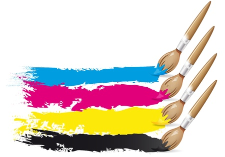 printer drawing: CMYK design - brushes and paint