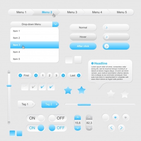 Set of web gray blue elements - file Illustration
