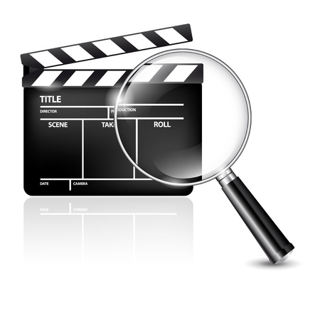 Film clap and magnifying glass - icon Vector