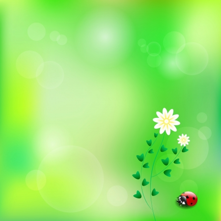 Spring background with flower and ladybug Stock Vector - 17720087