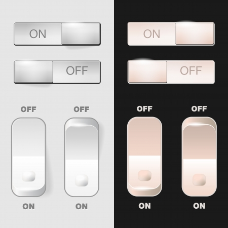 light switch: Set of ON-OFF switch buttons Illustration