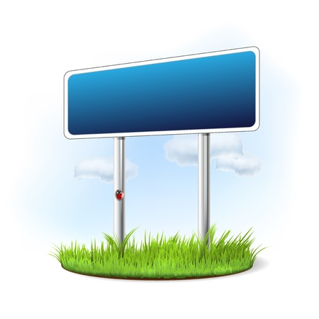 Blank sign in the grass - place for your message Stock Vector - 18191944