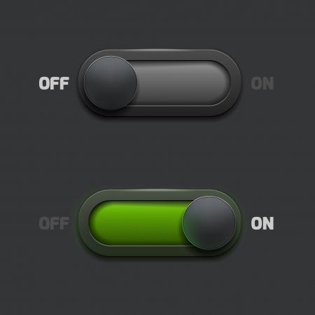 オン - オフスイッチの web ボタン  イラスト・ベクター素材