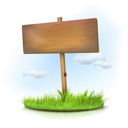Wooden sign in the grass - place for your message Stock Vector - 18333217