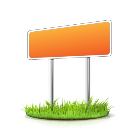 Blank sign in the grass - place for your message Stock Vector - 18262549