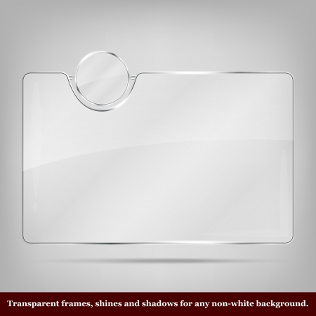 Transparent vector glass frame - place for icon and text Vector