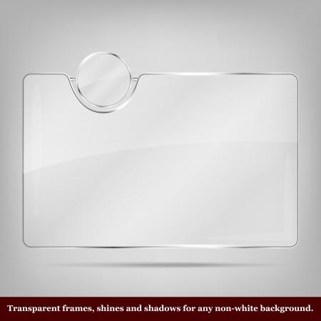 cromo: Vector marco de cristal transparente - lugar para el icono y el texto Vectores