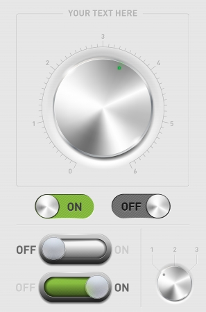 sound off: Metal volume knob, ON-OFF switch and changer Illustration