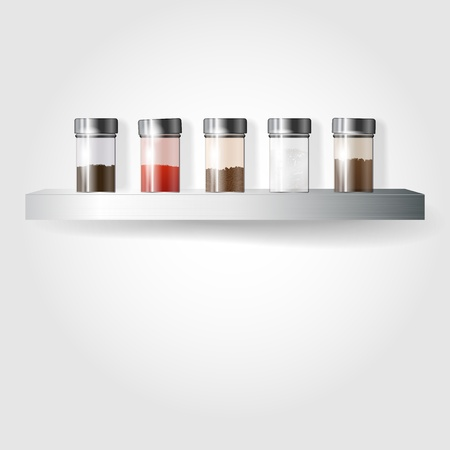 salt pepper: Glass spice on a metal shelf - place for your file