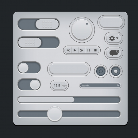 player controls: Set of gray ui web elements - sliders, switch, buttons etc