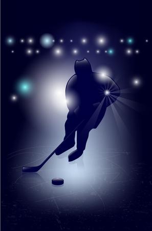 ice hockey player: Silhouette of ice hockey player - shiny background Illustration
