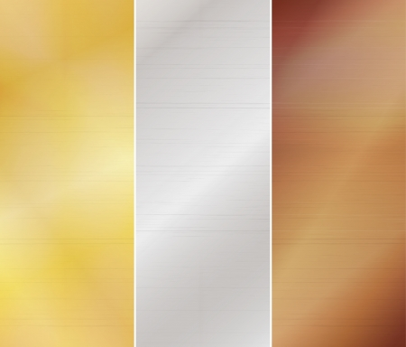 aluminum background: Set of three metal backgrounds - gold, silver, bronze