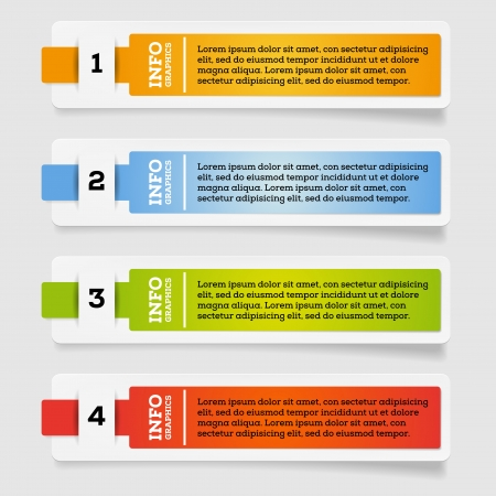 Set of paper labels - options - info graphics