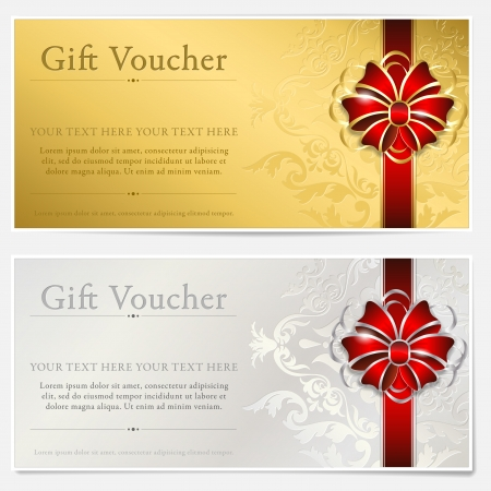 gift background: Gold and silver gift voucher