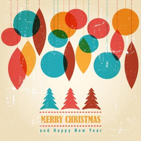 Retro Weihnachtskarte mit Weihnachten Symbole