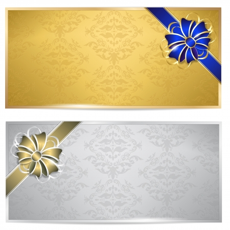 Gold and silver gift voucher with bow - isolated on white