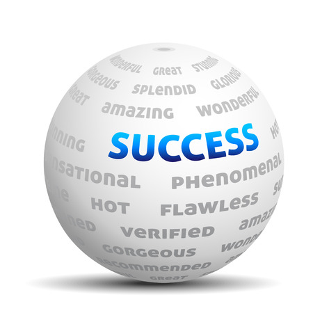 succes: 3D ball with words - success, hot, great etc