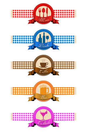 Label set for restaurant menu design - vector illustration Vector