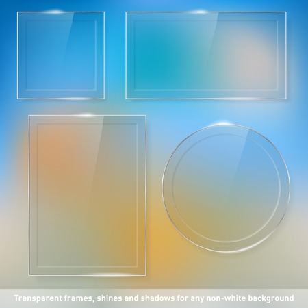Collection of transparent glass frames for any non-white background - place for your text  Vector illustration