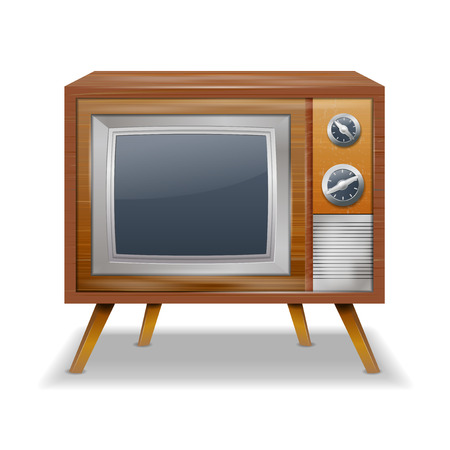 Retro TV in the wooden case - isolated on white background  Vector illustration  Vector