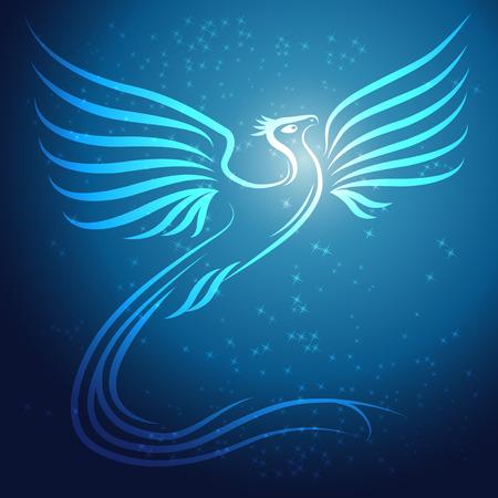 Luminoso resumen Phoenix pájaro sobre fondo azul con estrellas - ilustración vectorial Vectores