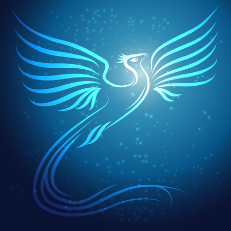 rebirth: Shining abstract Phoenix bird on blue background with stars - vector illustration Illustration