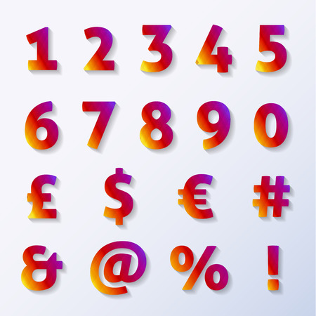 Numbers and letters with diamond texture and shadow Vector