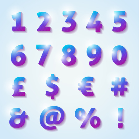 Numbers and letters with shadow Vector