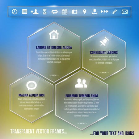 plexiglas: Transparent glass frames for any non-white background - infographics template - place for your text and icons  Vector illustration