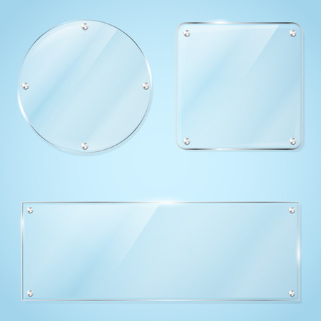 plexiglas: Collection of transparent glass frames for any non-white background with place for your text. Vector illustration
