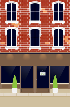 old building facade: Facade of house and market with place for your own name of shop  Illustration