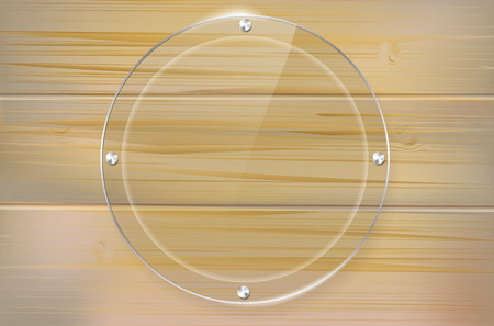 plexiglas: Transparent glass circle frame on wooden background with place for your text. Vector illustration. Illustration