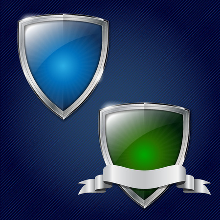 iron defense: Two glossy security metal shields with place for your text - vector illustration