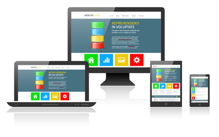 Responsive web design on different devices - vector illustration