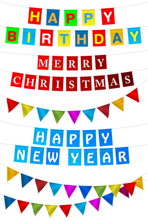 set of multicolored flags with the inscription happy birthday merry christmas happy new year - Merry Christmas And Happy Birthday