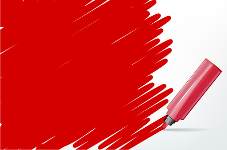 text marker: Red background with marker and scribble - place for your text - vector illustration