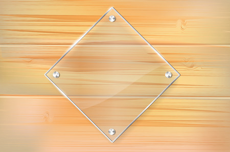 Transparent glass frame on wooden background with place for your text  Vector illustration