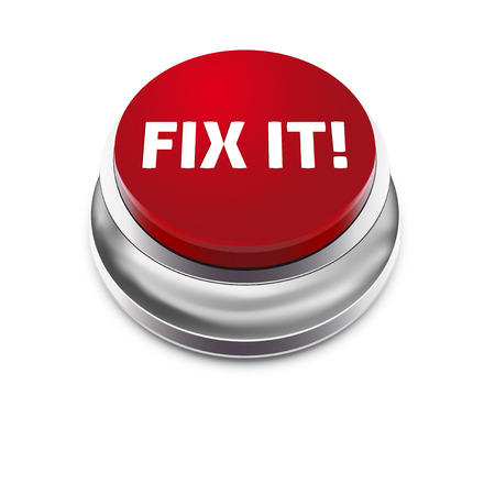 start button: Red button FIX IT - isolated on white background - vector illustration