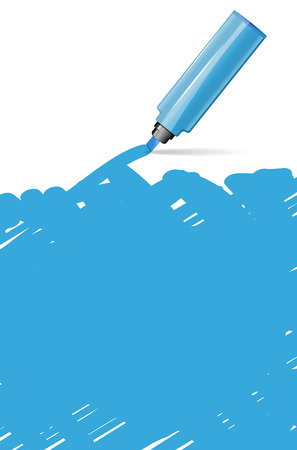 text marker: Blue background with marker and scribble - place for your text - vector illustration