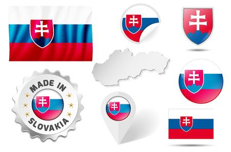 slovakian: Set of flags, maps etc. of Slovakia - isolated on white.