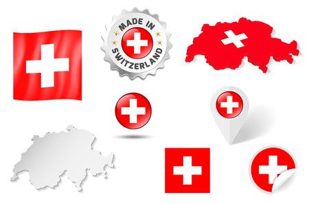land mark: Set of flags, maps etc. of Switzerland