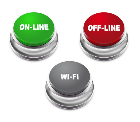 offline: Red offline, green online and gray wifi button - isolated on white background. Vector illustration.