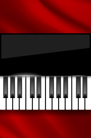 wavy fabric: Red wavy fabric and piano keyboard - background for music poster with place for text. Vector illustration.