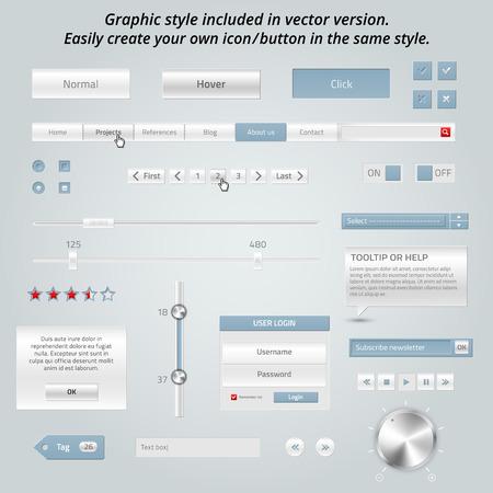 Set of elegant web elements  Vector